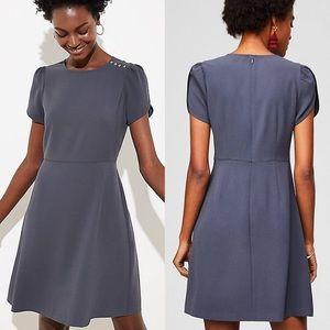 LOFT Grey Shoulder Button Flare Dress